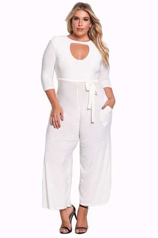 Her Fashion Timeless Plus Size Cut Out Wide Legged White Jumpsuit