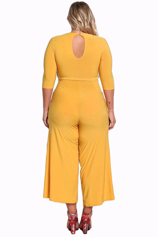 Her Fashion Timeless Plus Size Cut Out Wide Legged Yellow Jumpsuit