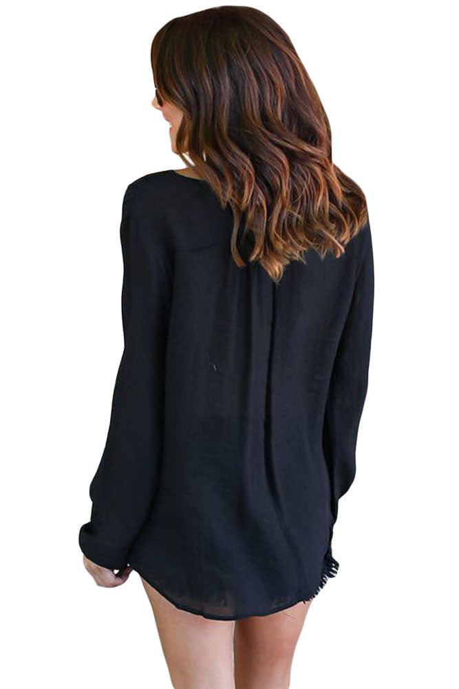 Her Fashion Top Gorgeous Black Bamboo Lace up Blouse
