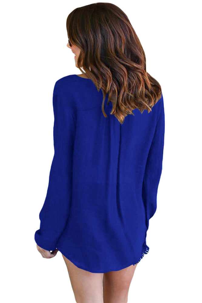 Her Fashion Top Gorgeous Blue Bamboo Lace up Blouse