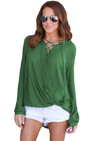 Her Fashion Top Gorgeous Olive Bamboo Lace up Blouse