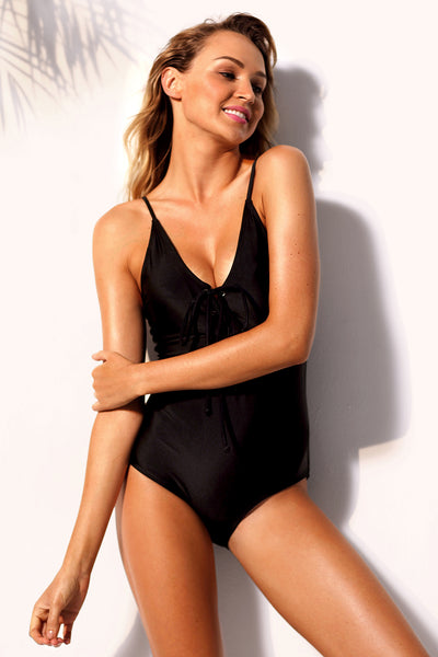Her Fashion Trendy Black Grommet Lace Up Stylish One-piece Swimsuit