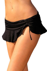 Her Fashion Trendy Black Side Tie Skirted Hipster Bikini Bottom