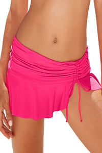 Her Fashion Trendy Rosy Side Tie Skirted Hipster Bikini Bottom