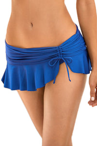 Her Fashion Trendy Royal Blue Side Tie Skirted Hipster Bikini Bottom