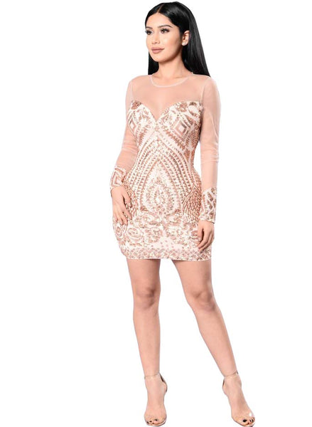 Her Fashion Trendy Sequin Elegant Gold Bodycon Women Mini Dress