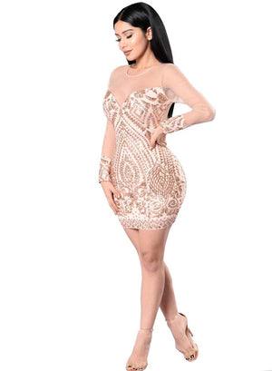 Her Fashion Trendy Sequin Elegant Black Bodycon Women Mini Dress