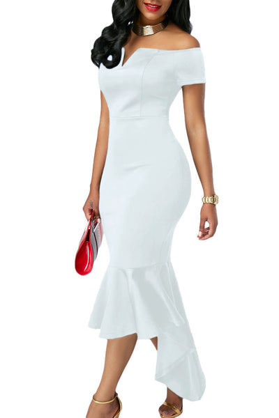 Her Fashion Trendy White Off Shoulder Short Sleeve Mermaid Dress
