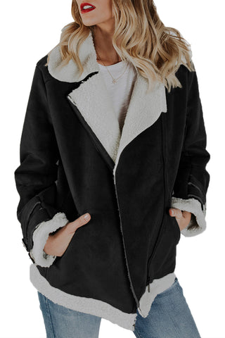 Her Fashion Ultra Glam Black Faux Suede Jacket Zipper Pockets Coat