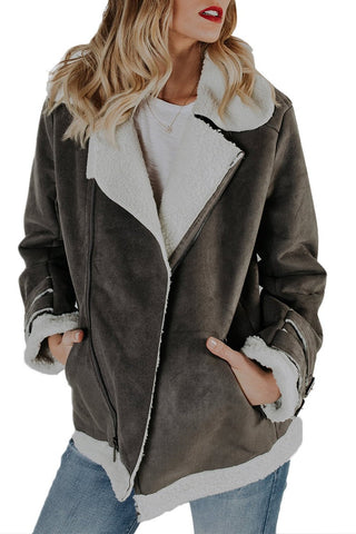 Her Fashion Ultra Glam Grey Faux Suede Jacket Zipper Pockets Coat