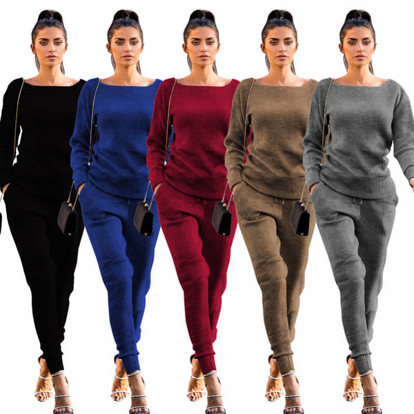 Her Fashion Urban Casual Sweater Trendy Women's Two-piece Set