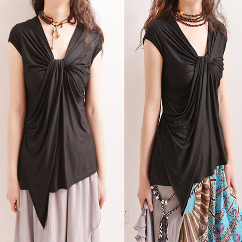 Her Fashion V-neck Short Sleeve Solid Sexy Black Tops Ladies Blouses