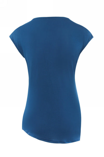 Her Fashion V-neck Short Sleeve Solid Sexy Blue Tops Ladies Blouses