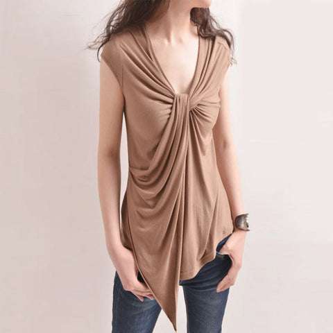 Her Fashion V-neck Short Sleeve Solid Sexy Coffee Tops Ladies Blouses