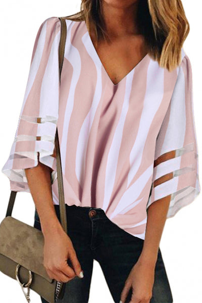 Her Fashion V Neck Bell Flare Lace Patchwork Sleeve Pink Blouse Shirt