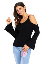 Her Fashion V Neckline Trendy Bell Sleeve Cute Black Sweater