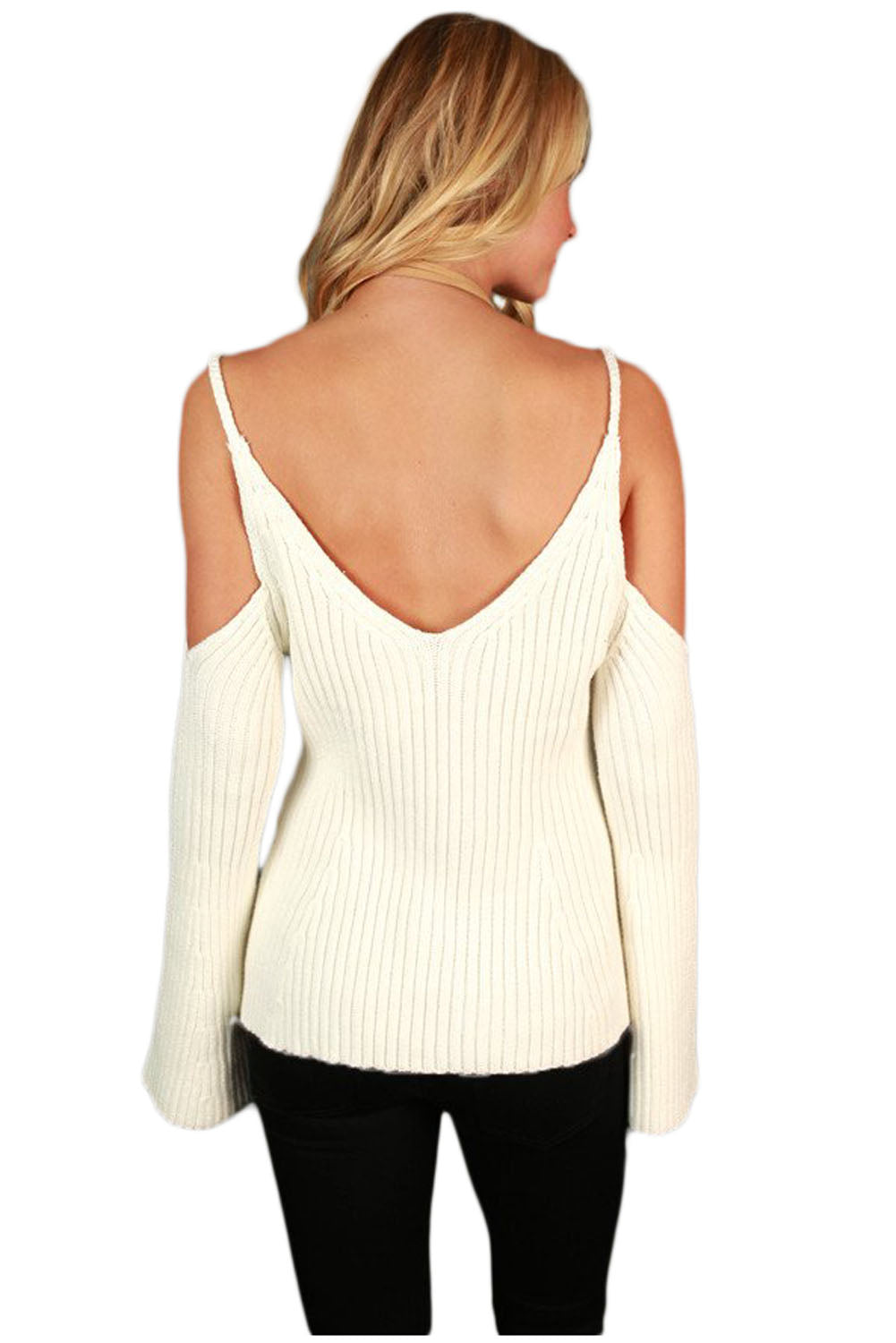 Her Fashion V Neckline Trendy Bell Sleeve Cute White Sweater