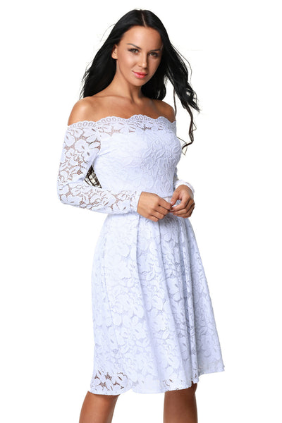Her Fashion Vintage White Long Sleeve Floral Lace Cocktail Swing Dress