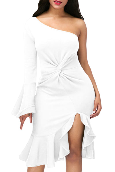 Her Fashion White Twist & Ruffle Accent OneShoulder Stylish Prom Dress