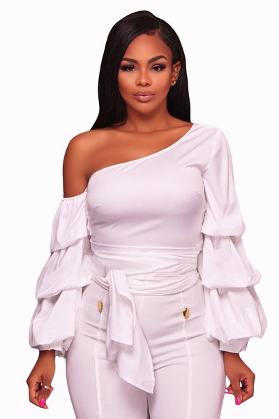 Her Fashion White Asymmetrical Shoulder Ruffle Sleeve Trendy Top