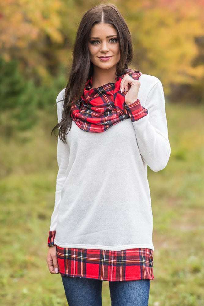 Her Fashion Black Autumn Wind Plaid Cowl Neck Tunic Trendy Top