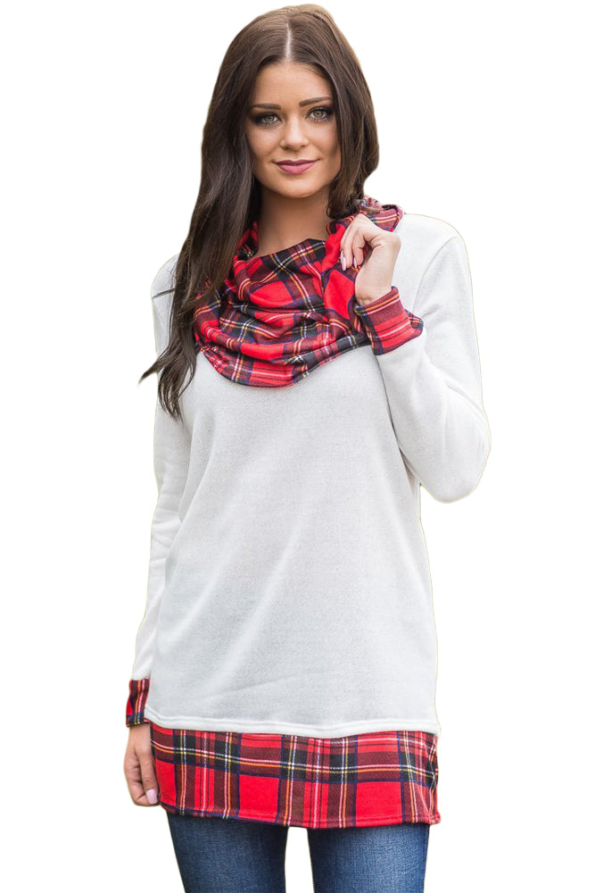 Her Fashion White Autumn Wind Plaid Cowl Neck Tunic Trendy Top