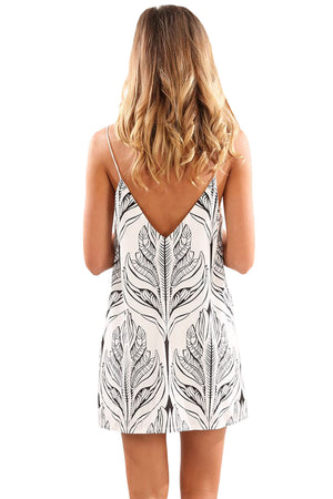 Her Fashion White Black Plant Print Short Dress