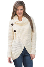 Her Fashion White Buttoned Wrap Cowl Neck Trendy Sweater