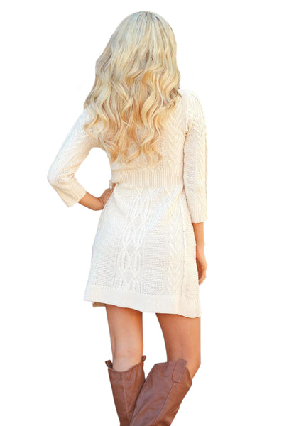 Her Fashion White Cable Knit Fitted 3/4 Sleeve Trendy Sweater Dress
