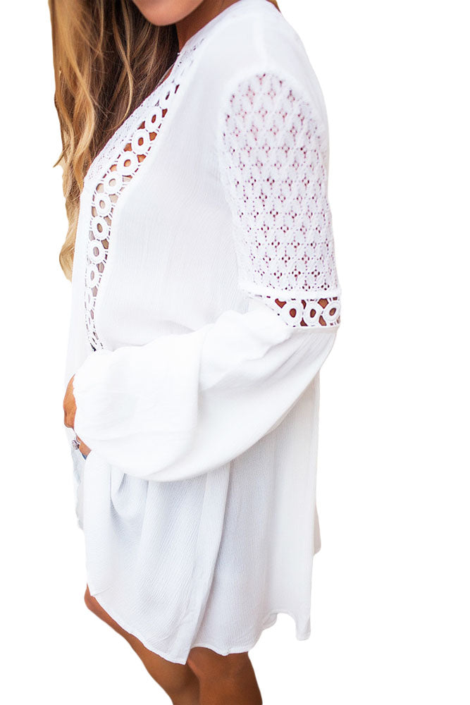 Her Fashion White Crochet Lace Trim Relaxed Long Sleeve Tunic Boho Top