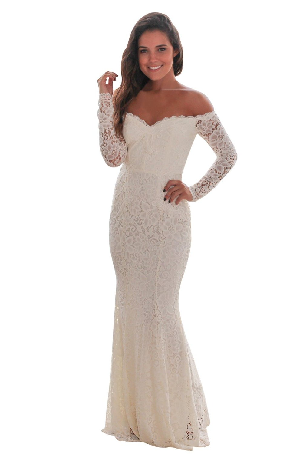 Her Fashion White Crochet Off Shoulder Maxi Evening Party Dress