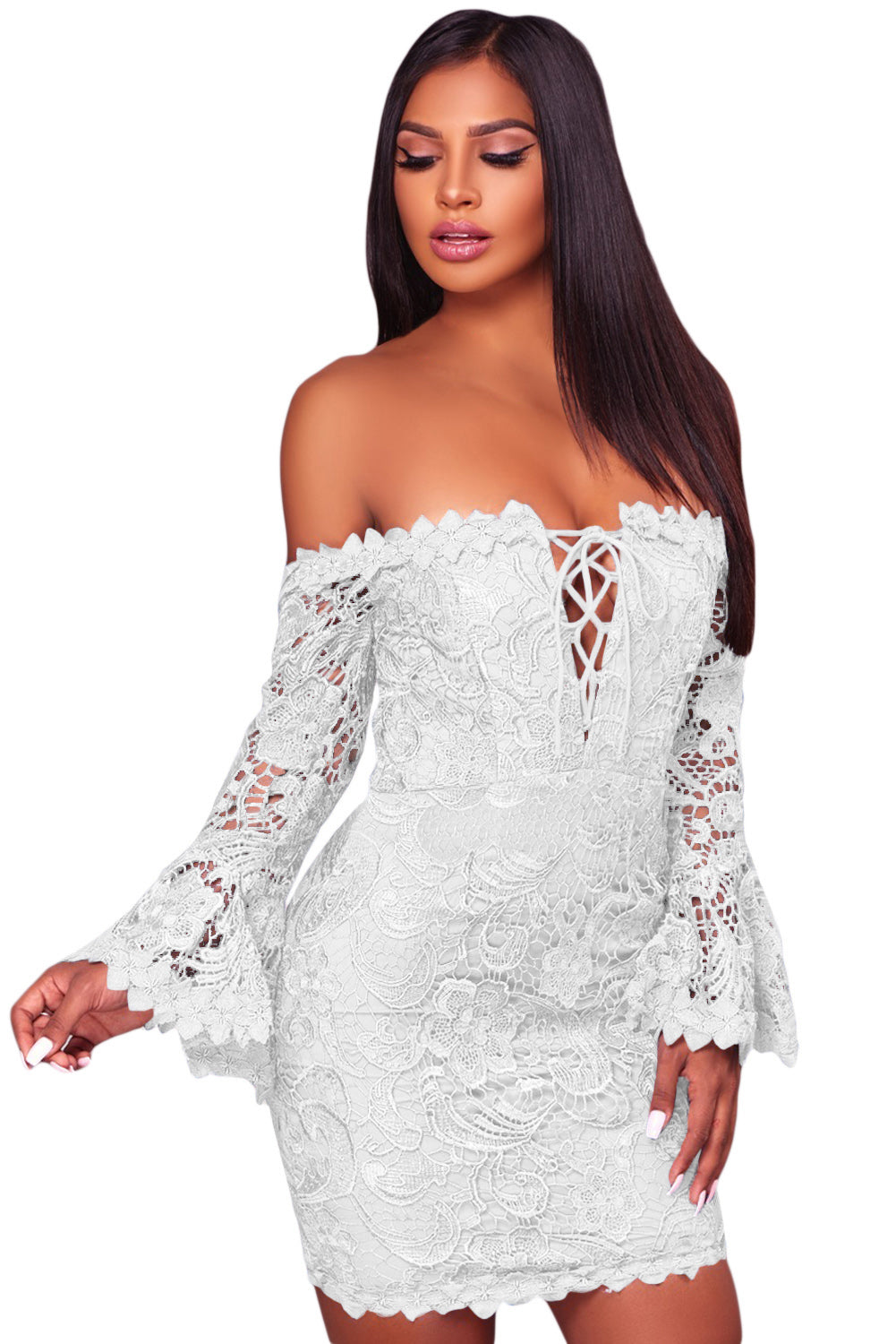 Her Fashion Blue Crochet Overlay Off The Shoulder Fitted Mini Dress