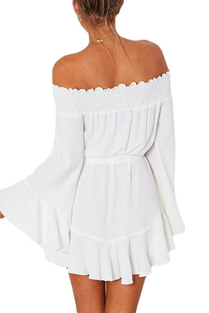 Her Fashion White Flare Sleeve Drop Hem Pleated Off Shoulder Dress