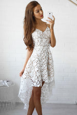 Her Fashion White Hollow Lace Nude Illusion Hi-low Elegant Party Dress