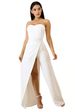 Her Fashion White Irregular Split Leg Strapless Elegant Jumpsuit