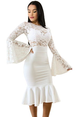 Her Fashion White Lace Bell Mermaid Bodycon Trendy Party Dress