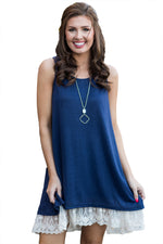 Her Fashion White Lace Hemline Splice Women Navy Mini Tank Dress