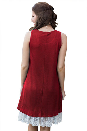 Her Fashion White Lace Hemline Splice Women Red Mini Tank Dress