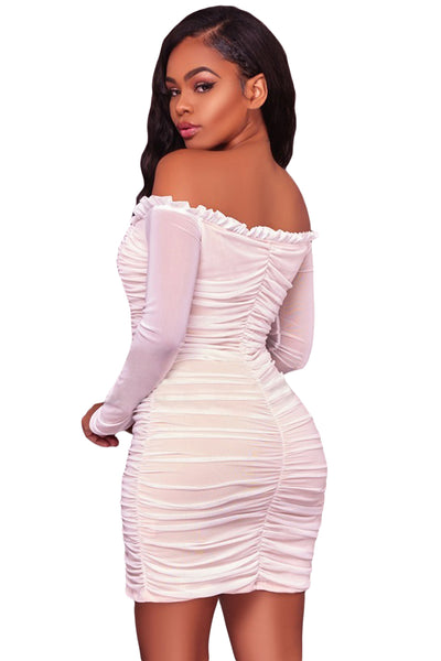 Her Fashion Black Mesh Ruched Sexy Off Shoulder Bodycon Mini Dress