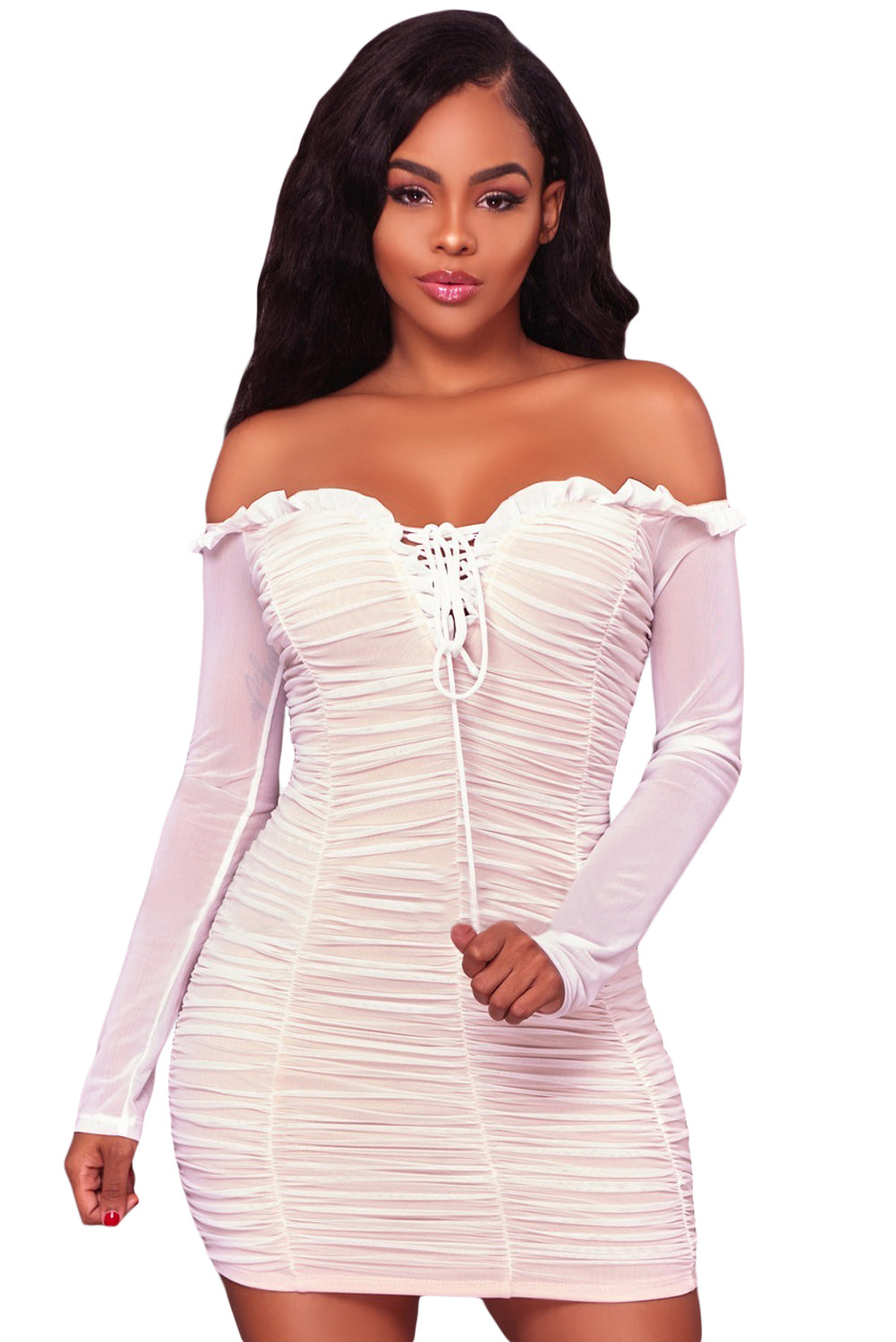 Her Fashion White Mesh Ruched Sexy Off Shoulder Bodycon Mini Dress