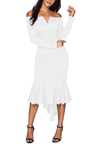 Her Fashion White Off Shoulder Long Sleeve Mermaid Dress