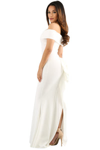 Her Fashion White Off Shoulder Slinky Long Trendy Flare Party Dress