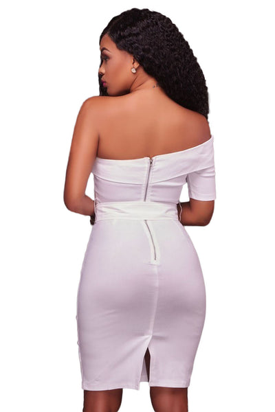 Her Fashion White One Shoulder Elegant Bodycon Party Dress