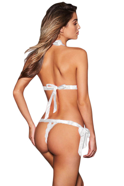 Her Fashion White Plunge Mesh Teddy with Bowknots Chic Lingerie