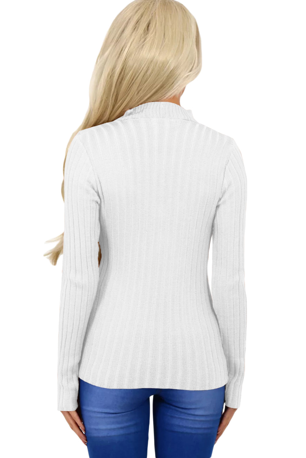 Her Fashion White Ribbed Choker Neck Women Sweater