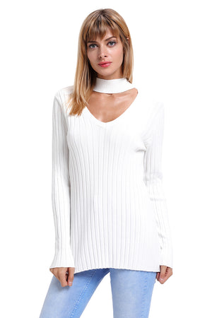 Her Fashion Black Ribbed Choker Neck Women Sweater