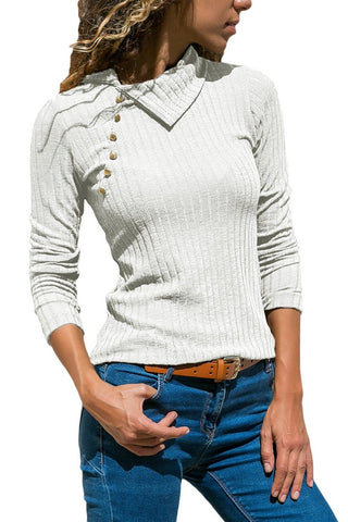 Her Fashion White Ribbed Knit Turn Down Collar Long Sleeves Top