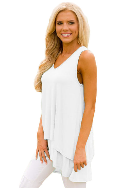 Her Fashion Lilac Ruffled Layer Asymmetric Hem Stylish Tunic Tank
