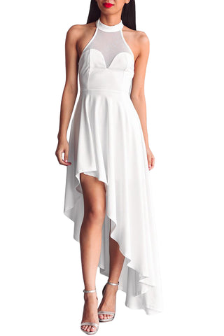 Her Fashion White Sheer Mesh Decolletage Hi-low Stunning Party Dress