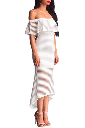 Her Fashion White Sheer Mesh Striped Overlay Slinky Party Dress
